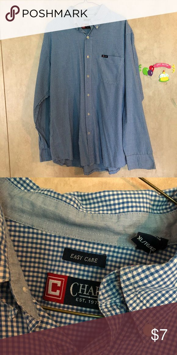Chaps Long sleeve men's Button down shirt This is a good condition blue and white plaid style chaps shirt it buttons down and has long sleeves size xl Chaps Shirts Casual Button Down Shirts