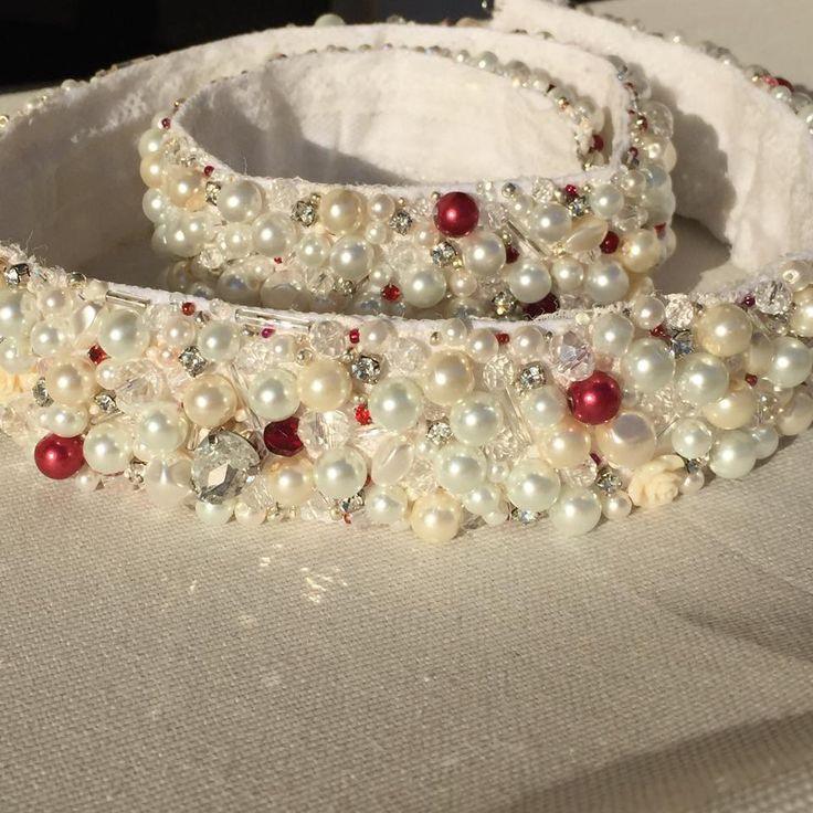 Ceinture pour robe de mariée avec des perles, des strass et cristaux, occasions spéciales : Ceinture par fleurs-de-provence