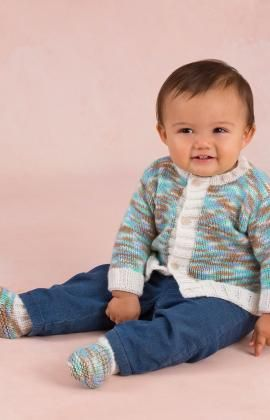Bouncing Boy Cardigan and Booties Free Knitting Pattern from Red Heart Yarns