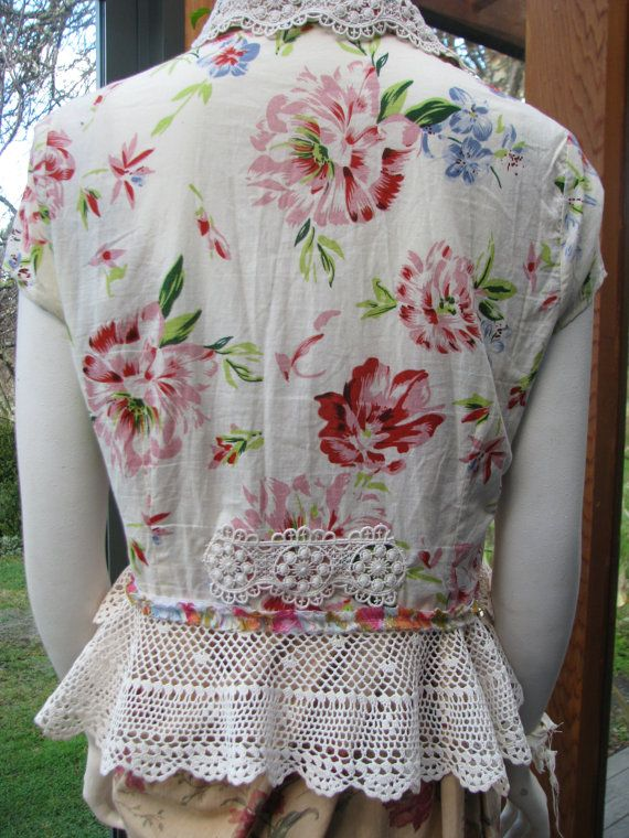 Boho Blouse Altered Couture Shabby Chic Upcycled by vintacci                                                                                                                                                                                 More