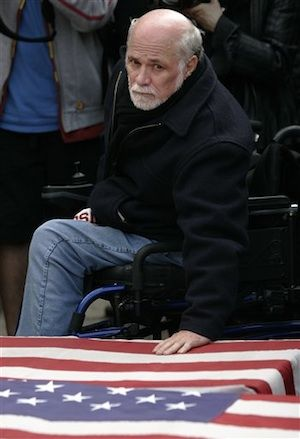 "Ron Kovic anti-war activist, veteran and writer who was paralyzed in the Vietnam War: ""The one gift I was given in that war was an awakening. I endured; I survived and understood. No one will ever again be my enemy—no matter how hard he or she tries to frighten and intimidate me. No government will ever teach me to hate another human being."" 2013."
