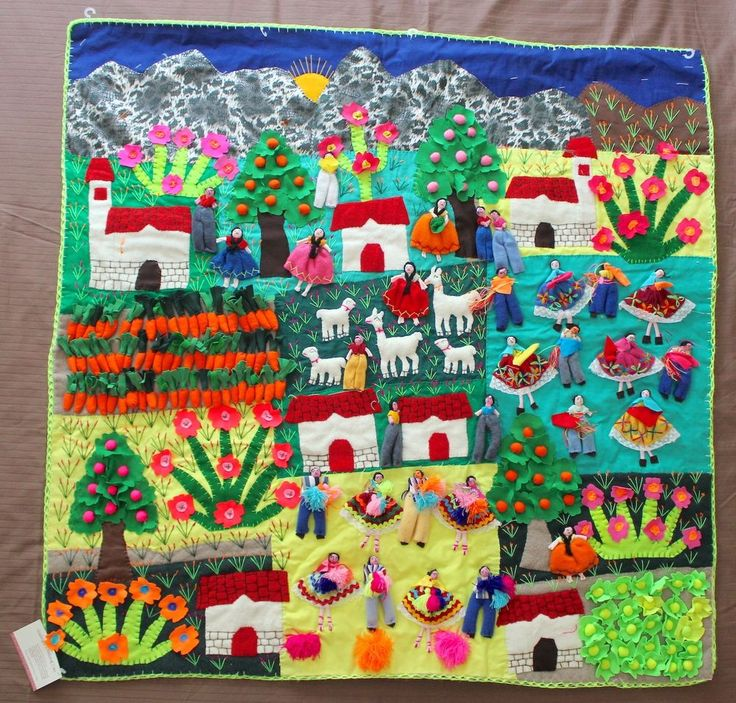 Large Hand Crafted Peruvian Arpillera 3D  Wall Hanging Farming People Town…