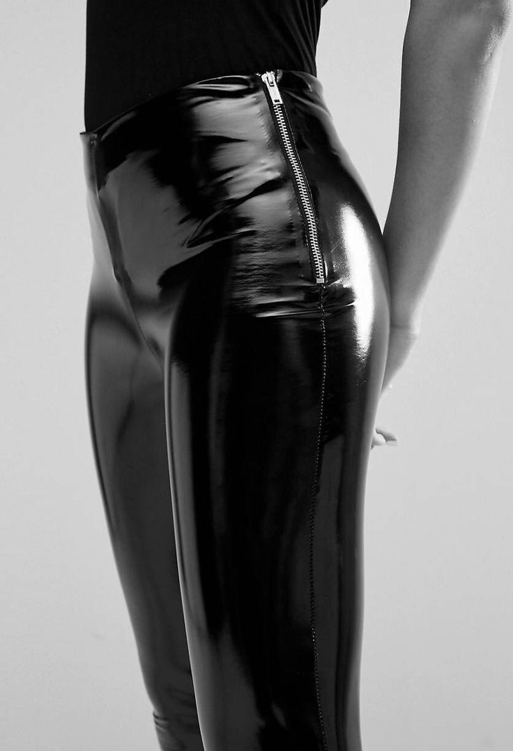 Figure hugging black Patent Leather Pants with Side Zipper