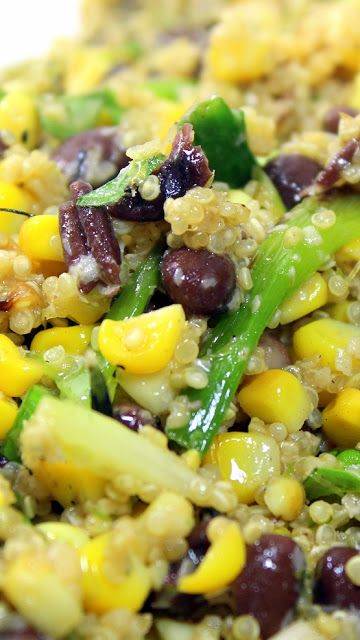 Black Bean and Quinoa Salad - Grilling Time Side Dish... All too often BBQ side dishes are loaded with carbs and calories.  Here's a wonderful change of pace dish that does not skimp on the flavors, adds a fresh grilled aspect, id Beautifully colored and simply among the tastiest uses of the newest SUPERFOOD, QUINOA you may ever have.  Unexpected and AMAZINGLY DELICIOUS!