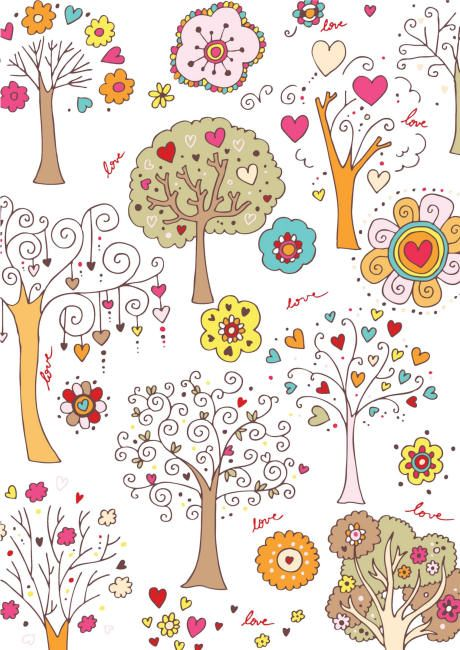 Valentines Day scrapbook paper - white trees