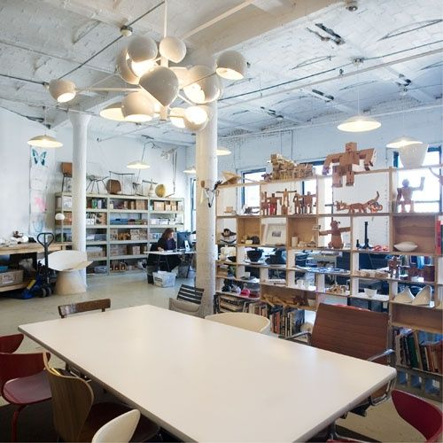 """In this edition of Where I Work, Design Milk visits designer David Weeks at his office and workshop in the DUMBO (that's """"Down Under the Manhattan Bridge Overpass"""") neighborhood of Brooklyn, New York. The studio designs lighting that takes cues from mid-century and machine age products, furniture with minimal forms, and fun accessories, including wooden toys with flexible joints."""