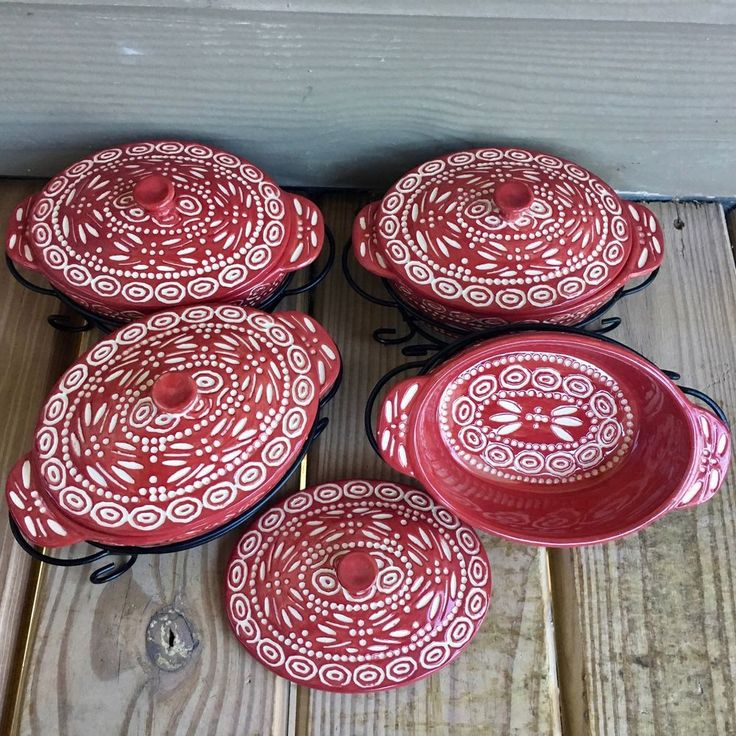 Temptations by Tara Old World Cranberry Set 4 Oval Mini Baking Dishes Rack Cover #TEMPTATIONS