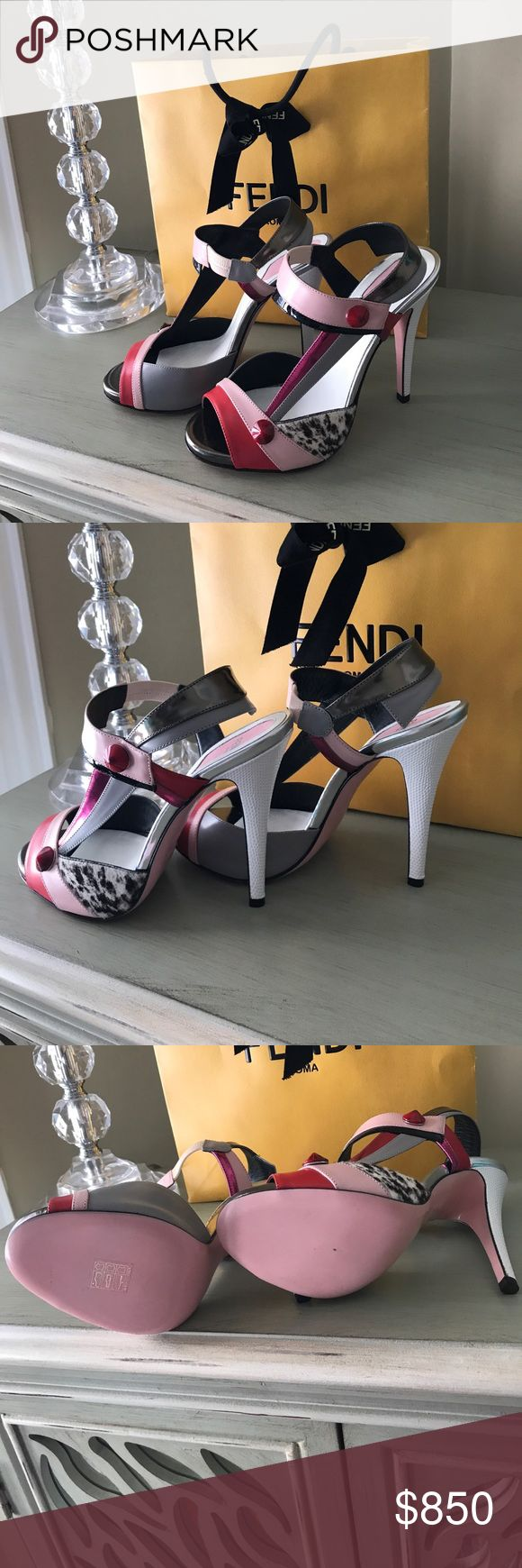 Fendi shoes Gorgeous Brand new, never worn multi-color (pink, white, black, red, grey) Fendi high heel shoes. Wearable art at its finest! Comes with certificate of authenticity, original box and draw string storage bag. Fendi Shoes Heels