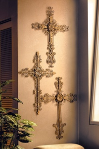 Filigree Wall Crosses With Blackened Antique Gold Set Of 3 These Majestic Will