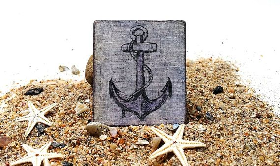 Dollhouse beach picture  miniature vintage anchor by DewdropMinis