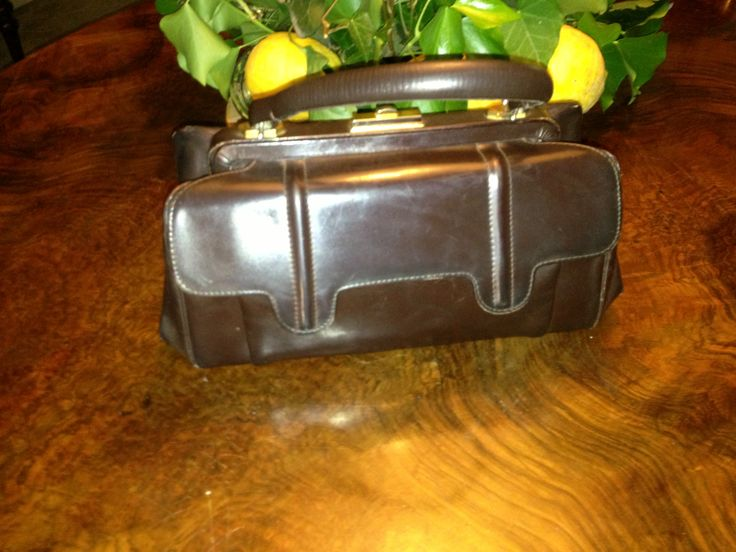 Side #50s two #compartments brown #leather #bag
