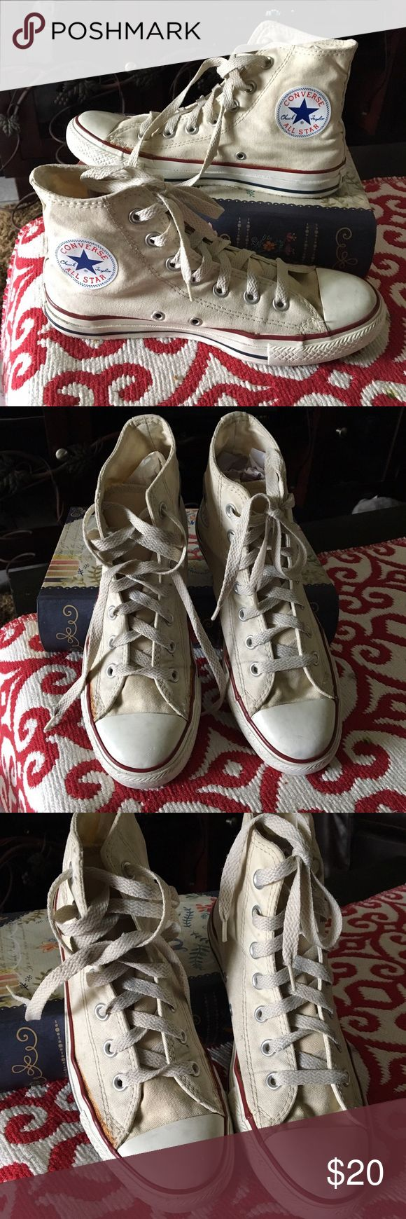 Converse Sneakers Hi Tops Cream Converse Sneakers Hi Tops, in good condition. Yellow glue marks not too noticeable when wearing, excellent price! Converse Shoes Sneakers