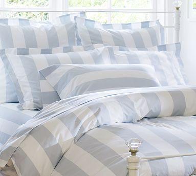 PB Classic Stripe 400-Thread-Count Duvet Cover & Sham - Porcelain Blue #potterybarn