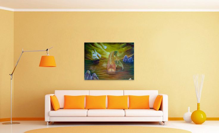 Wall decor, ideas, fine art, oil painting, canvas print, for sale, golden, colorful, mermaid, tail, seascape, legendary, mythical, mythological, creature, fish, aquatic, merpeople, sailboat, nautical, marine, atmospheric, moody, nightscape, moonshine, fantasy