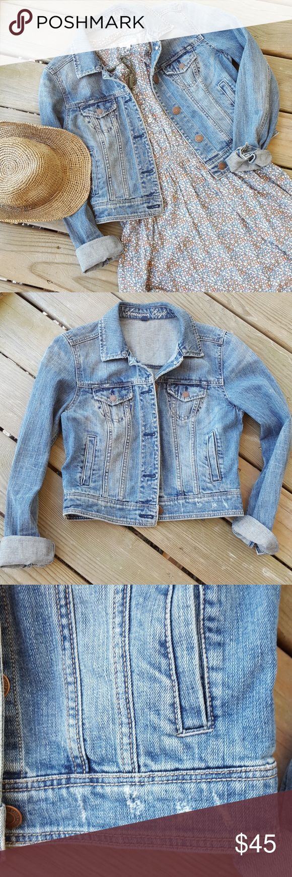American Eagle jean jacket EUC!! Classic jean jacket.  Factory distressed. No damage or stains.  *Smoke free home*  ***I offer discounts on bundles!! ***Reasonable offers welcome! American Eagle Outfitters Jackets & Coats Jean Jackets