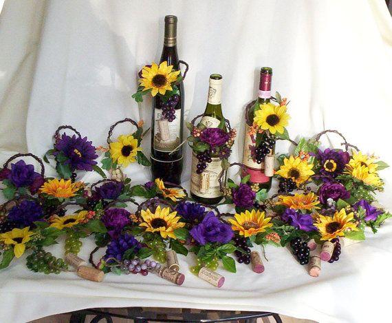Wine Bottle toppers Sunflower Wedding Centerpieces Decoration Bridal Shower favors summer Wedding reception grapes custom for Kerri