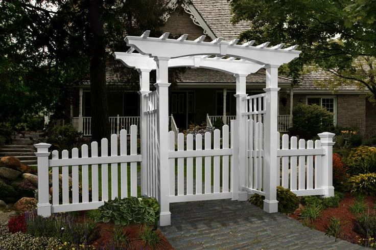Outside arbor designs arbors newport vinyl garden for Fence with arbor