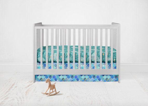Straight Crib Skirt Aqua Cobalt Blue Quatrefoil. Blue by SuiteBaby