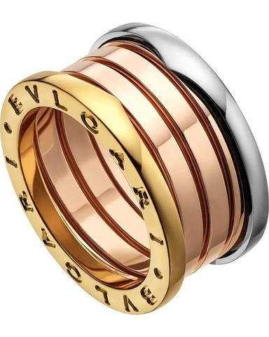 bvlgari bulgari inspired bzero1 14ct pinkrose white and yellow gold ring