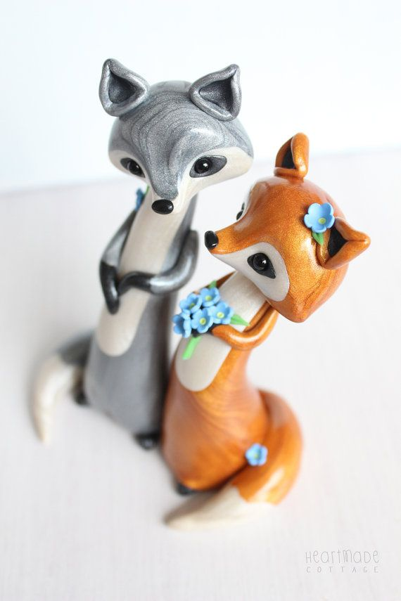 Silver and Red Fox Wedding Cake Topper  by HeartmadeCottage