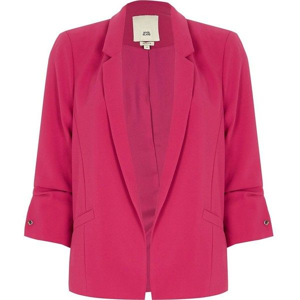 River Island Petite bright pink bar cuff blazer (355 PEN) ❤ liked on Polyvore featuring outerwear, jackets, blazers, coats / jackets, pink, women, river island jackets, blazer jacket, ruched sleeve blazer and tall blazer