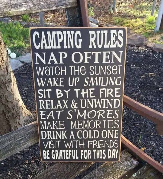 Camping Sign, Gift for Campers, Camping Rules, Fun Gift for Camping Friends, Camper Decor, RV sign, by Dingbatsanddoodles on Etsy https://www.etsy.com/listing/505831602/camping-sign-gift-for-campers-camping