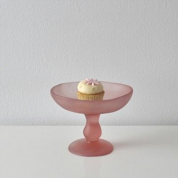 Tina Frey Designs Small Pedestal Bowl, Pink contemporary serving utensils