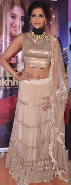 Interesting blouse... Sonam Kapoor in Anamika Khanna