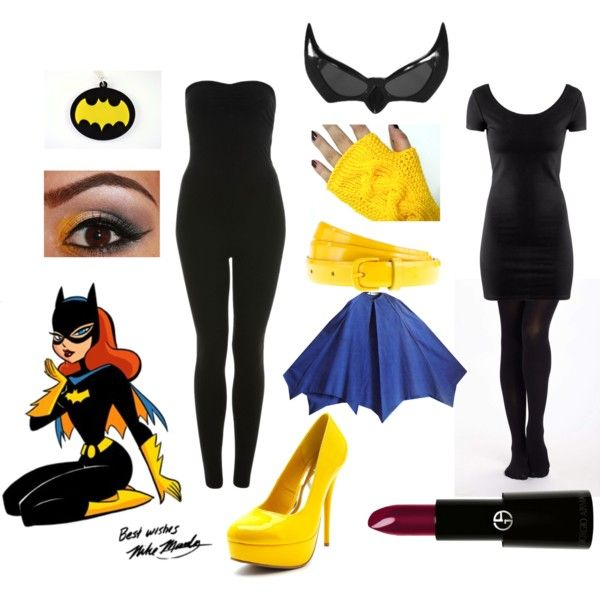 Batgirl DIY Costume by sarahebi on Polyvore featuring H&M, Miss Selfridge, Charlotte Russe, J.Crew, Elope, Giorgio Armani, Episode, blue eye makeup, yellow heels and plum lipstick