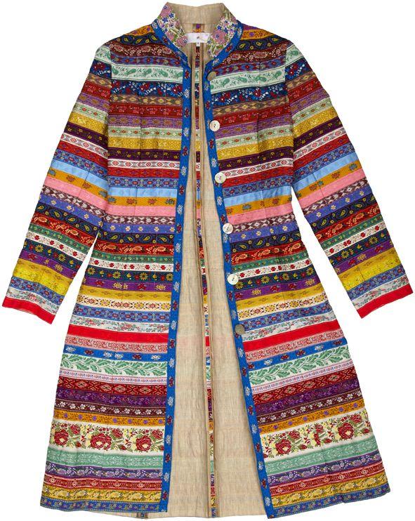 Nice coat...looks like Fair Isle knitting, but its made of colourful rib...