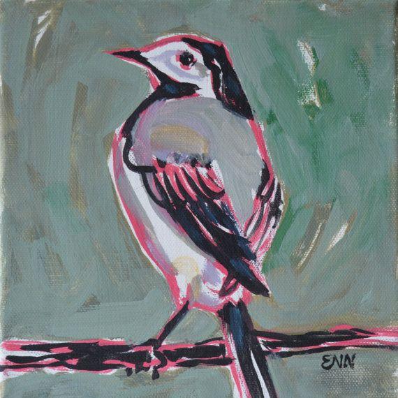 Original bird oil painting / birds / Wagtail by NielsenDenmark