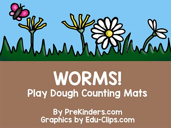 Worms Play Dough Math Mats (free; from PreKinders)