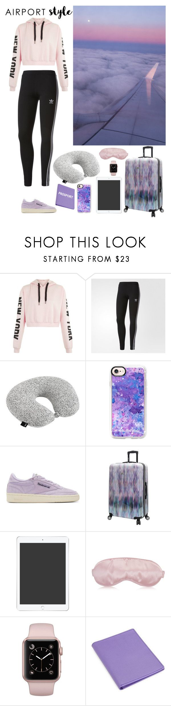 """""""Jet Set : Airport Style [Contest]"""" by emiliefrenchgirl ❤ liked on Polyvore featuring adidas, HAY, Casetify, Reebok, Steve Madden, Royce and 91"""