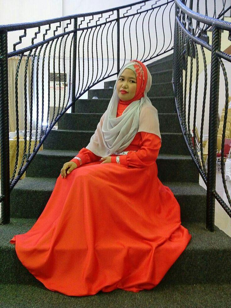 Red dress... #hijabwedding