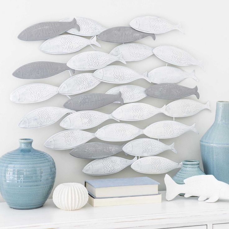 d co murale banc de poisson en m tal maisons du monde bord de mer pinterest deco murale. Black Bedroom Furniture Sets. Home Design Ideas