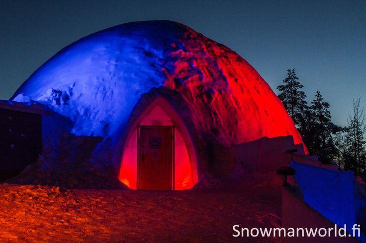 A big snow igloo of Snowman World in Rovaniemi in Lapland, Finland