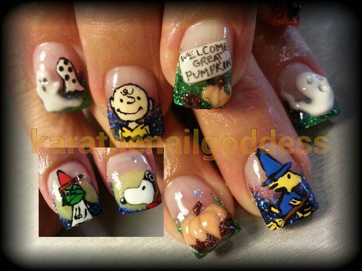 The great pumpkin, Charlie Brown, snoopy, 3D nail art, hand paint, woodstock, Halloween