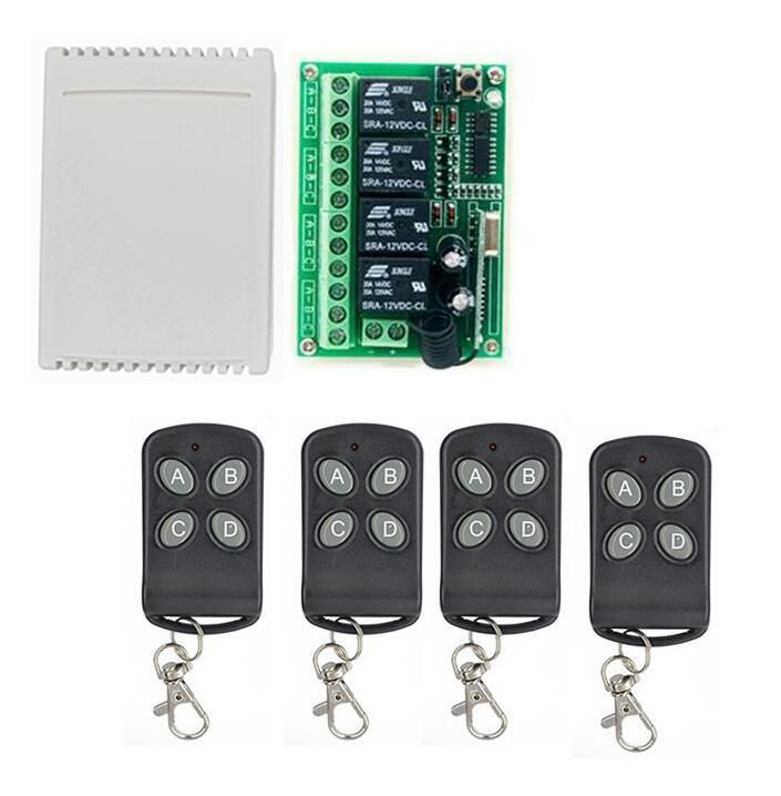Home Dc12v 12 V 4ch 4 Channel Wireless Remote Control Relay Switch Transceiver Receiver Compatible 433mhz Contr Electronic Accessories Remote Control 4 Channel