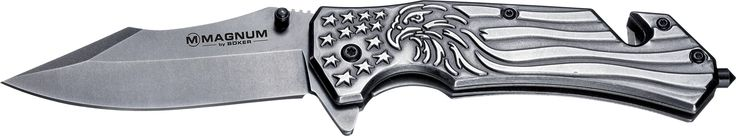 Boker Magnum 01RY188 Freedom Folder Knife with 3 1/2 in. 440 Stainless Steel Blade, Grey. Displays the American national symbol, the bald eagle and the stars and stripes of the flag. Stainless steel blade and handle. Features a glass-breaker, belt cutter and pocket clip. Blade length: 3 ½ in. Overall length: 7 ⅞ in. Weight: 6.7 oz. Limited Lifetime Warranty.
