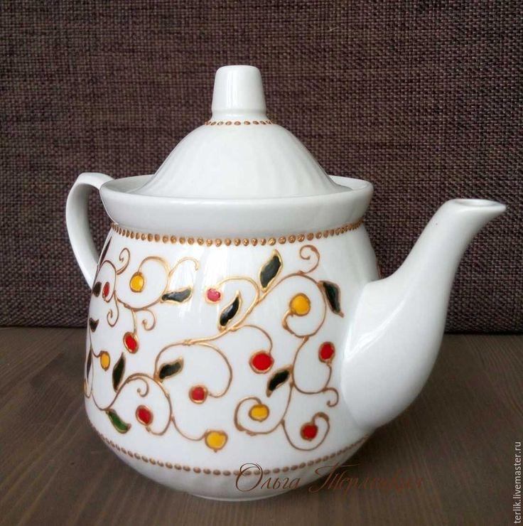 """Купить Чайник заварочный керамический """"Ягодный чай"""" Керамическая посуда - чайник, чайник заварочный"""