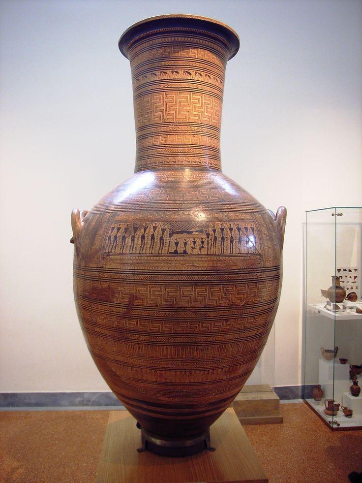 Anfors del Dipylon -750 a.C -Maestro del Dipylon (solo convenzionale) -luogo di ritrovamento: cimitero del Dipylon, Atene -luogo di conservazione: Museo Archeologico Nazionale di Atene -ceramica a motivi geometrici