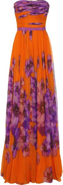 Orange and purple floral ruched strapless silk chiffon dress. By Giambattista Valli