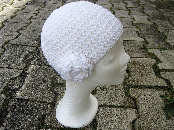 White women hat Flower hat crochet Interchangeable by gremArt