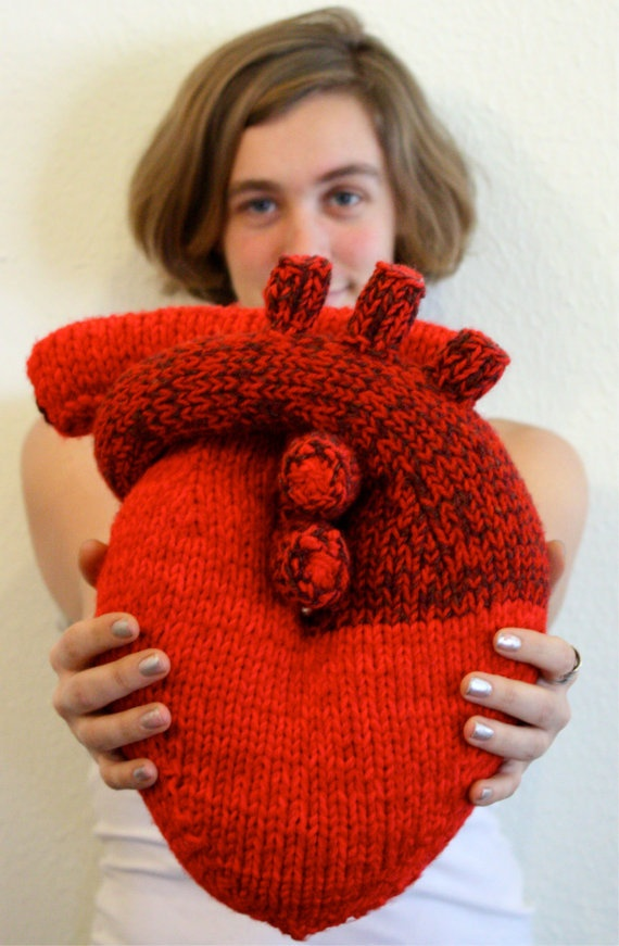 Handknit I give you my heart Pillow Anatomical