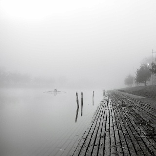 The Yarra River, the fog, winter, calm Melbourne Victoria Australia