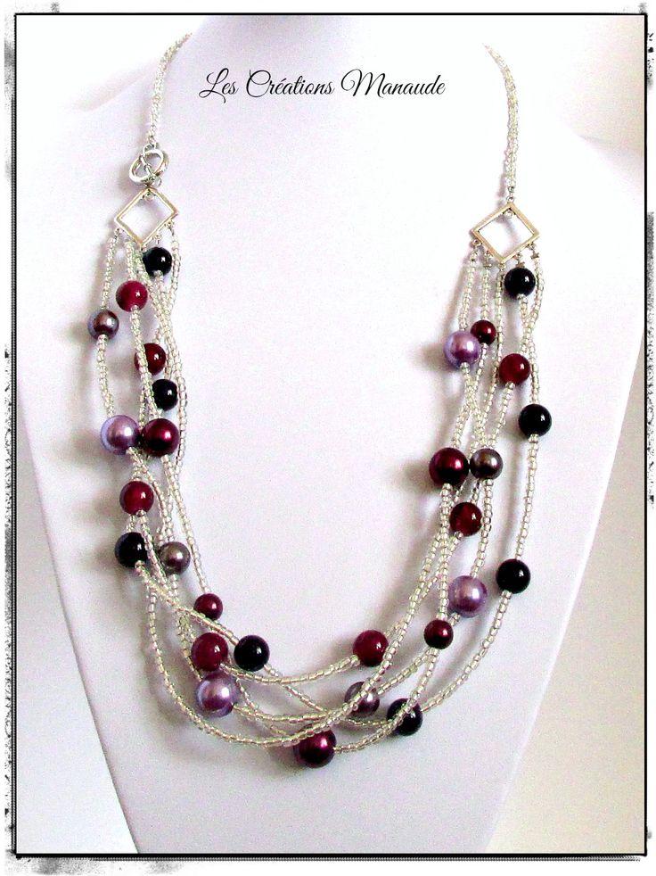 Collier 5 rangs de perle de rocaille de verre clair avec bille de verre différent ton de mauve . 20$
