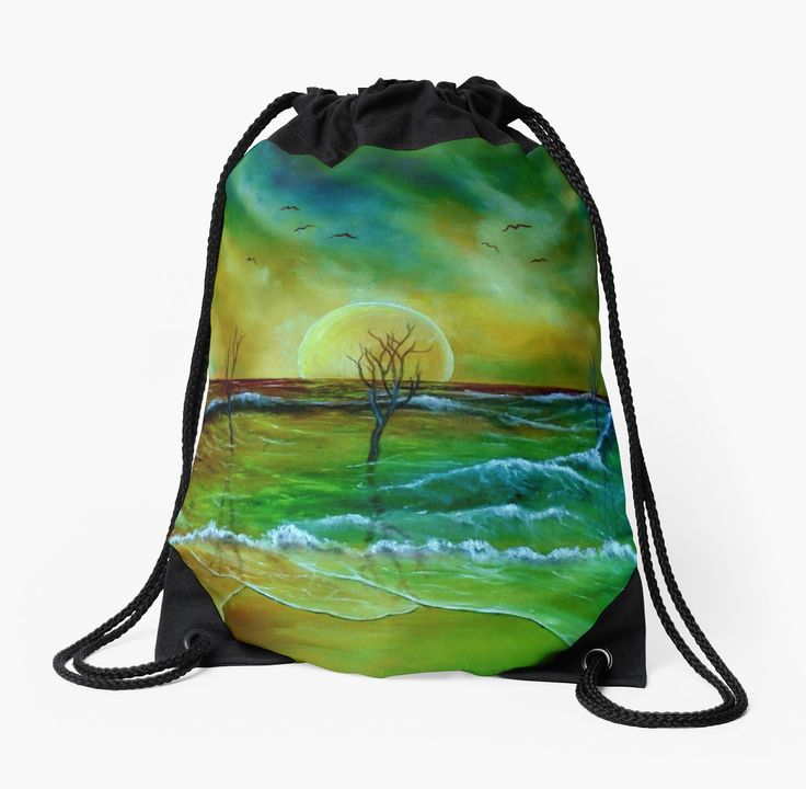 Drawstring Bag,  sea,waves,coastal,beach,sky,green,blue,colorful,impressive,beautiful,unique,trendy,artistic,unusual,accessories,for sale,design,items,products,ideas,redbubble