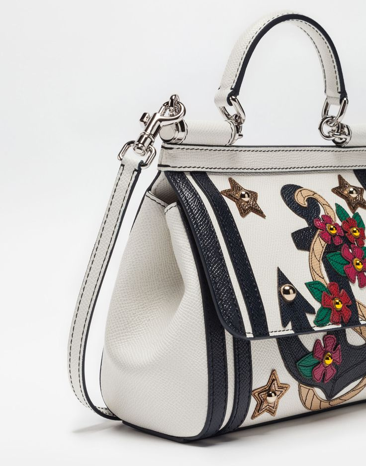 Women's crossbody bags and shoulder bags | Dolce&Gabbana - SMALL SICILY BAG IN DAUPHINE LEATHER WITH APPLICATIONS