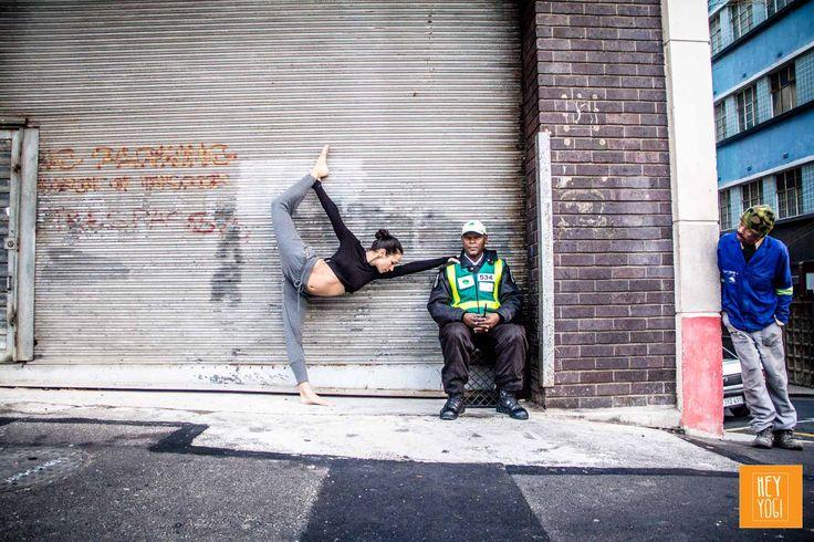 Natarajasana with Justine Barnes.  Shot by Nora Wendel from HEY YOGI.   Cape Town 2015