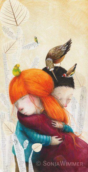 abrazos, ilustración de Sonja Wimmer
